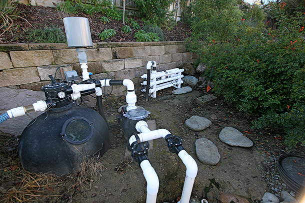 Koi pond builder santa cruz monterey san jose san for Pond filter system design