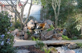 Capitola Pondless Waterfall with Bridge and Path