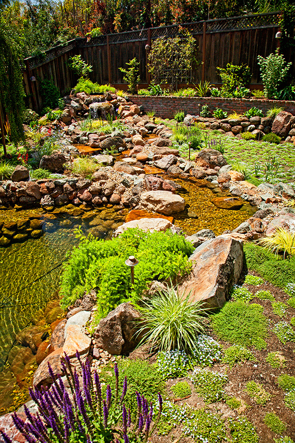 Pond waterfall and landscaping design samples examples for Landscaping around koi pond
