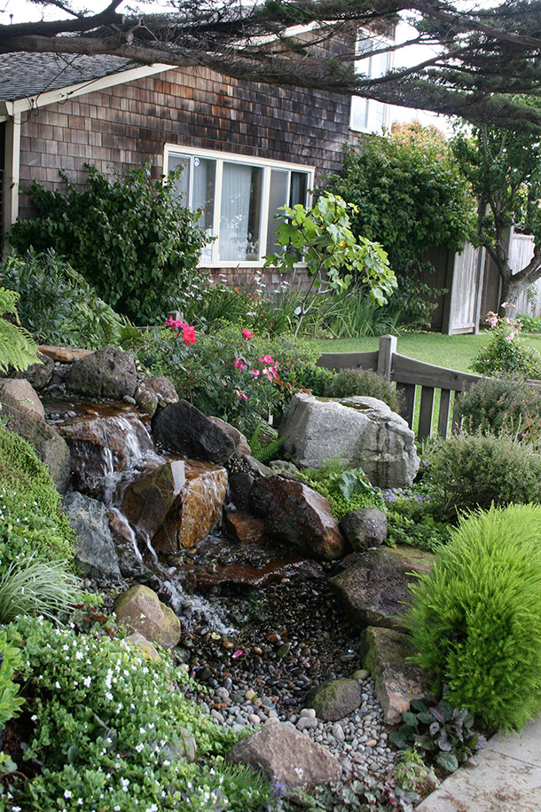 Santa cruz pondless waterfall and stream child safe design for Landscaping around ponds
