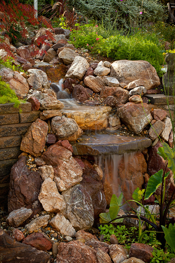 Pond waterfall and landscaping design samples examples - Small backyard landscape designs ...